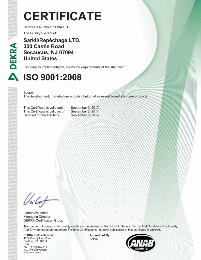 Sarkli/Repêchage LTD., ISO 9001:2008