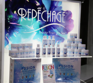 Repechage Fusion Express Bar and Spa Masks with Nutriceutical Organic Actives and at-home products on display